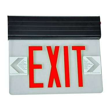 Morris Products Surface Mount Edge Lit LED Exit Sign w/ Red on Clear Panel and Black Housing