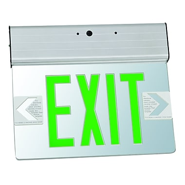Morris Products Surface Mount Edge Lit LED Exit Sign w/ Green on Clear Panel and Aluminum Housing