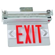 Morris Products Recessed Mount Edge Lit LED Exit Sign with Red on Clear Panel and Aluminum Housing