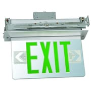 Morris Products Recessed Mount Edge Lit LED Exit Sign with Green on Clear Panel and Aluminum Housing