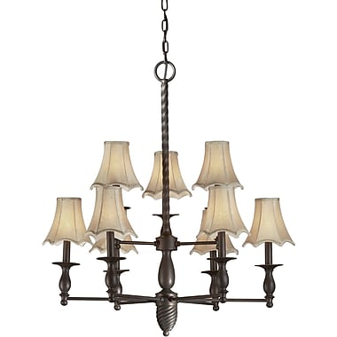 Forte Lighting 9 Light Chandelier w/ Fabric Shades