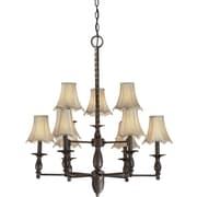 Forte Lighting 9 Light Chandelier with Fabric Shades