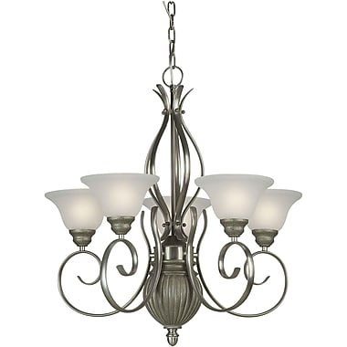 Forte Lighting 5 Light Shaded Chandelier; Brushed Nickel and River Rock / White Linen