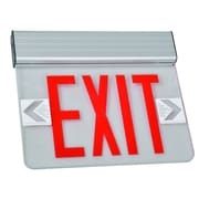 Morris Products Surface Mount Edge Lit LED Exit Sign with Red on Clear Panel and Aluminum Housing