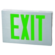 Morris Products Cast Aluminum LED Exit Sign with Green Lettering, Aluminum Housing and Aluminum Face