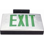 Morris Products Cast Aluminum LED Exit Sign with Green Lettering, Aluminum Housing and Black Face