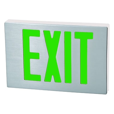 Morris Products Cast Aluminum LED Exit Sign w/ Green Lettering, Aluminum Housing and White Face