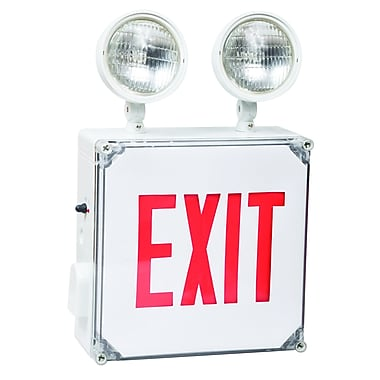 Morris Products Wet Location LED Exit Combo Unit w/ Red Letter