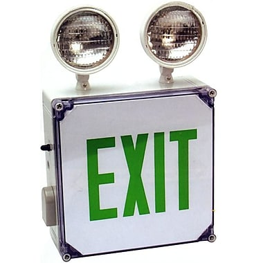 Morris Products Wet Location LED Exit Combo Unit w/ Green Letter