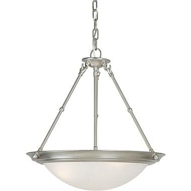 forte lighting 3 light bowl inverted pendant brushed nickel white. Black Bedroom Furniture Sets. Home Design Ideas