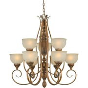 Forte Lighting 9 Light Chandelier with Patterned Glass Shades