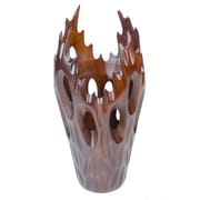 Foreign Affairs Home Decor Flame 16'' H Table Lamp with Novelty Shade; Dark Brown
