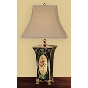 JB Hirsch Cameo Rose Square Toile 29'' H Table Lamp with Bell Shade