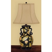JB Hirsch Patted Leaf 29'' H Table Lamp with Bell Shade