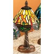 Meyda Tiffany Scarlet Art Glass Tiffany Hanging Head Dragonfly 12'' H Table Lamp with Empire Shade