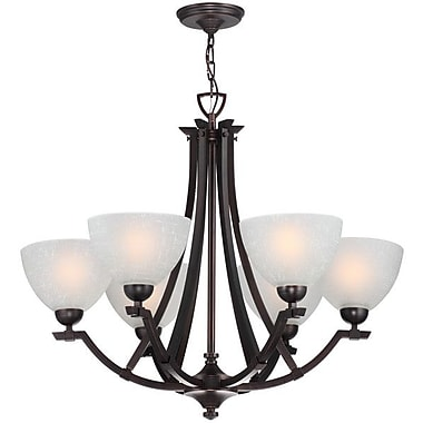 DVI Key West 6 Light Shaded Chandelier; Oil Rubbed Bronze with White Linen Glass Shade