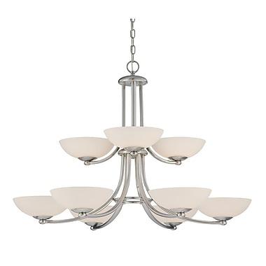 Dolan Designs Rainier 9 Light Shaded Chandelier; Satin Nickel
