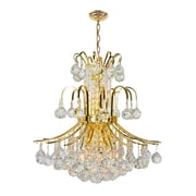 Worldwide Lighting Empire 9 Light Chandelier; Gold