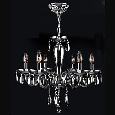 Worldwide Lighting Gastby 6-Light Candle-Style Chandelier; Chrome