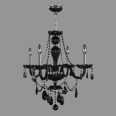 Worldwide Lighting Provence 4-Light Crystal Chandelier; Black