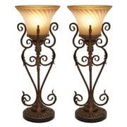 Aspire Lisette Torchiere 30'' H Table Lamp with Bell Shade (Set of 2)