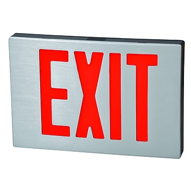 Morris Products Cast Aluminum LED Exit Sign w/ Red Lettering, Black Housing and Aluminum Face