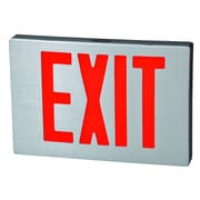 Morris Products Cast Aluminum LED Exit Sign with Red Lettering, Black Housing and Aluminum Face