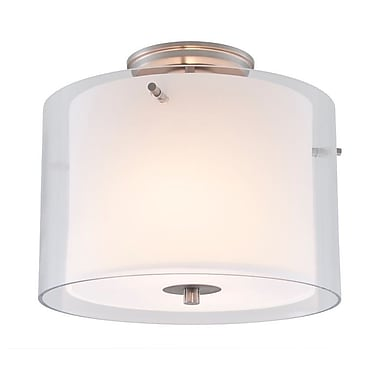 DVI Essex 12'' 2 Light Semi Flush Mount; Chrome with Half Opal Glass Shade