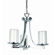 DVI Essex 3 Light Chandelier; Buffed Nickel with Half Opal Glass Shade