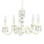 Jubilee Collection 5 Light Glass Turret Chandelier; Ivory