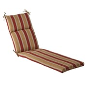 Pillow Perfect Stripe Outdoor Chaise Lounge Cushion; Red/Gold Striped
