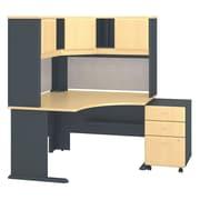 "Bush Cubix 48""W x 48""D Corner Desk w Hutch and 3Dwr Mobile Pedestal, Euro Beech/Slate (SRA040BESU)"