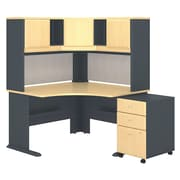 "Bush Cubix 48""W x 48""D Corner Desk w Hutch and 3Dwr Mobile Pedestal, Euro Beech/Slate, Installed (SRA040BESUFA)"