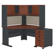 "Bush Cubix 48""W x 48""D Corner Desk w Hutch and 3Dwr Mobile Pedestal, Hansen Cherry/Galaxy (SRA040HCSU)"