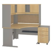 "Bush Cubix 48""W x 48""D Corner Desk w Hutch and 3Dwr Mobile Pedestal, Danish Oak/Sage (SRA040LOSU)"