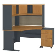 "Bush Cubix 48""W x 48""D Corner Desk w Hutch and 3Dwr Mobile Pedestal, Natural Cherry/Slate (SRA040NCSU)"