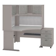 "Bush Cubix 48""W x 48""D Corner Desk w Hutch and 3Dwr Mobile Pedestal, Pewter/White Spectrum (SRA040PESU)"