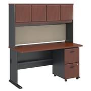 "Bush Cubix 60""W x 27""D Desk w Hutch and 2Dwr Mobile Pedestal, Hansen Cherry/Galaxy (SRA039HCSU)"