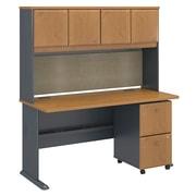 "Bush Cubix 60""W x 27""D Desk w Hutch and 2Dwr Mobile Pedestal, Natural Cherry/Slate, Installed (SRA039NCSUFA)"