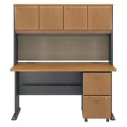 "Bush Cubix 60""W x 27""D Desk w Hutch and 2Dwr Mobile Pedestal, Natural Cherry/Slate (SRA039NCSU)"