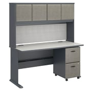 "Bush Cubix 60""W x 27""D Desk w Hutch and 2Dwr Mobile Pedestal, Slate/White Spectrum, Installed (SRA039SLSUFA)"