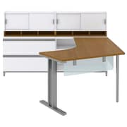 "Bush Momentum Left-Handed L-Desk w Glass Panels, Storage, (2) 36""W Hutches and Lateral File, Modern Cherry, Installed"