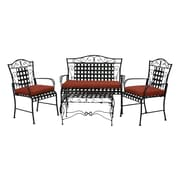Blazing Needles 3 Piece Outdoor Dining Chair and Loveseat Cushion Set; Mocha