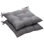 Pillow Perfect Outdoor Dining Chair Cushion (Set of 2); Gray Textured Solid