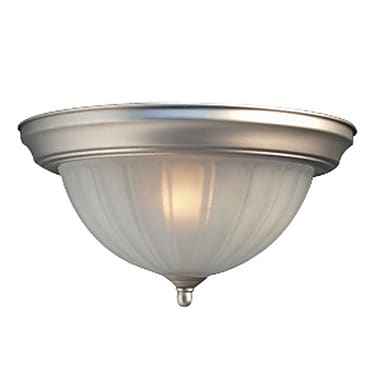 Woodbridge Basic 1 Light Flush Mount; Satin Nickel