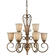 Forte Lighting 9 Light Chandelier with Mica Flake Glass Shades