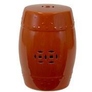 Woodland Imports Ceramic Garden Stool; Red