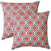 Fox Hill Trading Premiere Home Curtis Throw Pillow (Set of 2); Medallion Coral / Tan