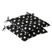 Pillow Perfect Tufted Outdoor Dining Chair Cushion (Set of 2); Black/White Polka Dot