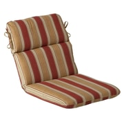 Pillow Perfect Outdoor Lounge Chair Cushion; Red/Gold Striped